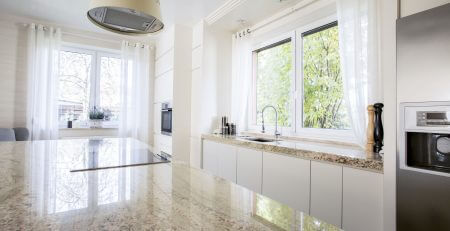 luxury kitchen with marble worktop