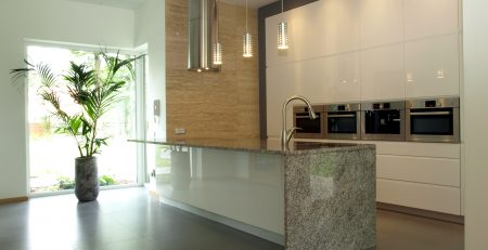 bright well designed stone kitchen