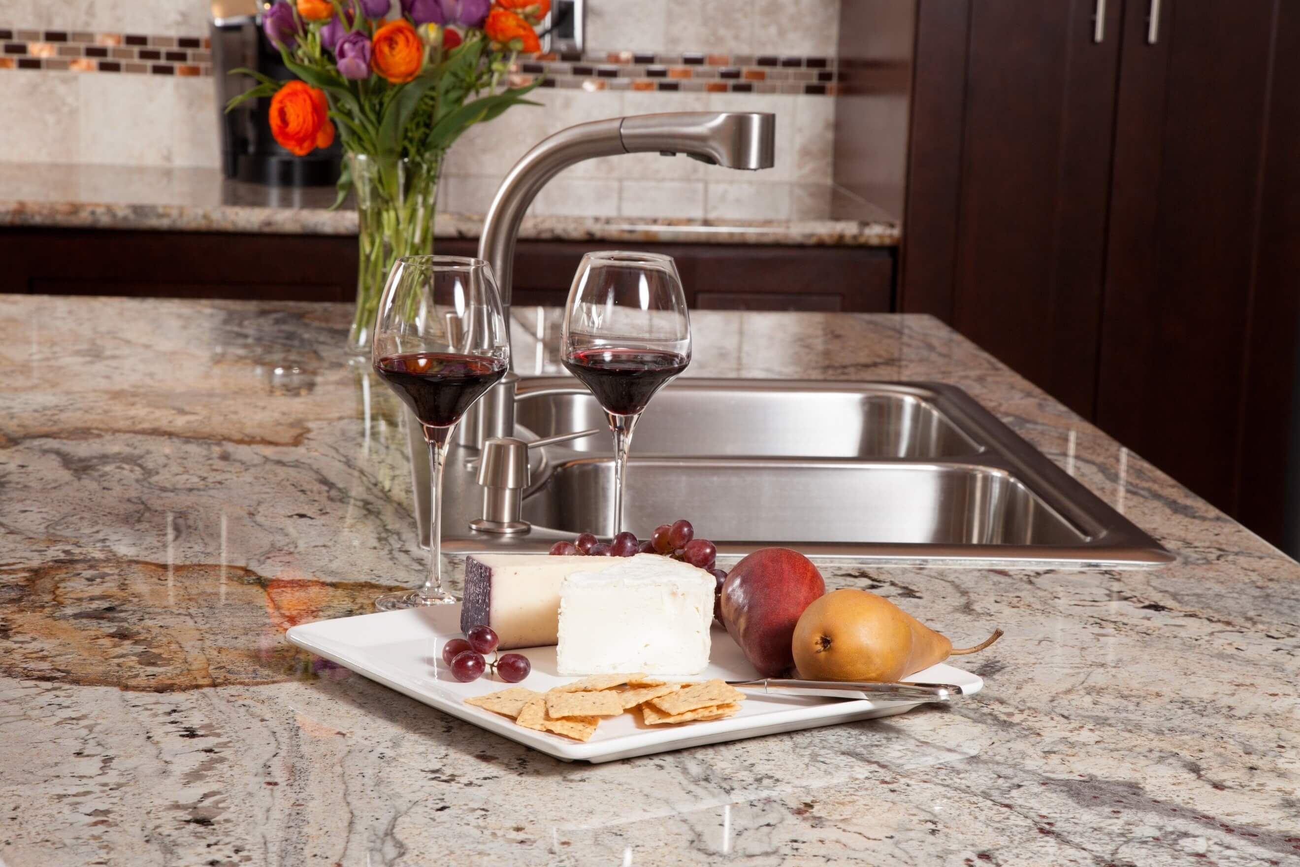 coloured kitchen stone surface