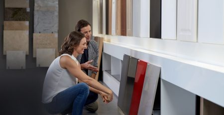 couple choosing a stone worktop surface