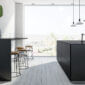 Black and white panoramic kitchen, bar