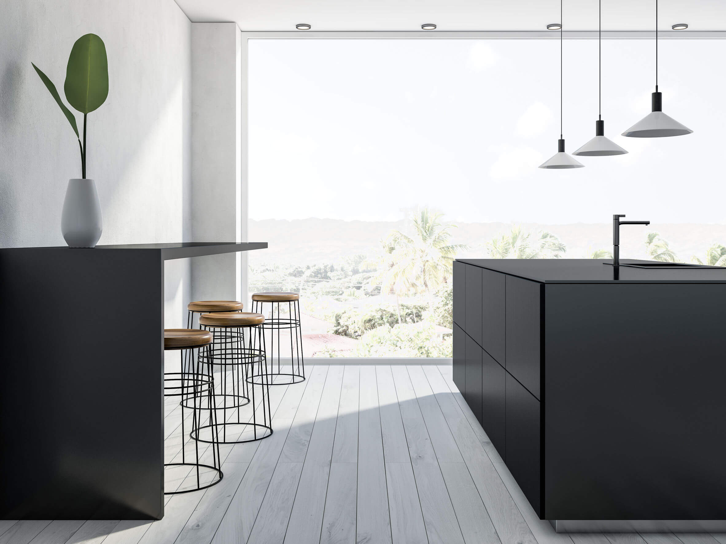 Black and white panoramic kitchen, bar